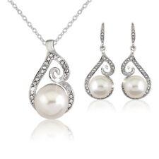 Damen Schmuckset Perlen Halskette Ohrringe Perlenkette Kristall Weiß Silber