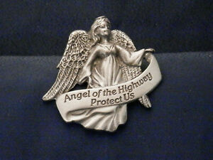 """""""Angel of the Highway Protect Us"""" Pewter Visor Clip - KVC119"""