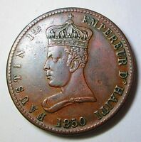 EMPEROR FAUSTIN RARE 1850 HAITI  SIX AND A QUARTER CENTIMES  CONDITION AE-296
