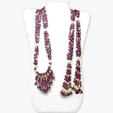 Faceted Ruby Round and Teardrop Bead Lariat Necklace with Cultured Pearls