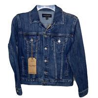 Lucky Brand Womens The Tomboy Trucker Jean Jacket XS Distressed Blue Button $109