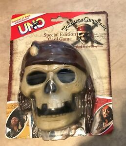 UNO Card Game Pirates of the Caribbean Special Edition Skull Case NEW sealed