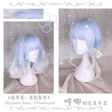 Princess Lolita Harajuku Sweet Gradient Wig Blue Mixed Silver Cosplay Curly Hair