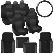 Car Seat Covers Set Black & Charcoal w/ PU Leather Floor Mats & Steering Wheel