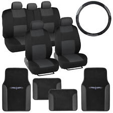14 Pc Car Seat Covers Set Black & Charcoal w/ Pu Leather Trim Carpet Floor Mats (Fits: Dodge Stealth)