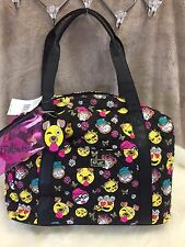 NEW! XL BETSEY JOHNSON Dog EMOJI Weekender Duffle Bag Carry On Luggage BLACK
