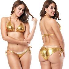 Women Sexy Metallic Swimsuit Wet Look Swimwear Bikini Set Lingerie Bra +Panties