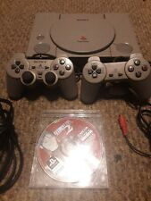 Sony Playstation One PS1 Original Console AV Power Cables+ 2 Controllers & R.E.2