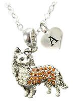 Custom Brown Collie Dog Silver Necklace Jewelry Choose Initial or Family Charm