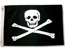 """JOLLY ROGER BOAT FLAG 12X18"""" NEW PIRATE POISON SKULL AND CROSS BONES"""