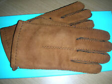NIB Tiffany & Co brown tan camel suede shearling tack stitch gloves size 8 Italy