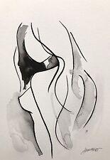 Enchères Aquarelle Art Abstraite Moderne Originale Nu Femme Corps A4