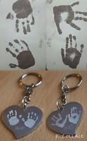 Engraved Heart Finger / Hand/ Foot Print Heart Kerying