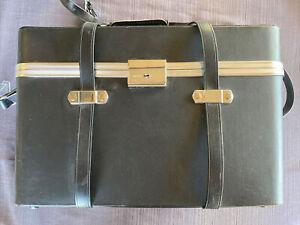 Vintage Hinomoto Large Brown Leather Hard Photo Camera Bag Case Key & Lock NICE