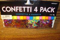 4 Pack  Multi-Color Stars-Sun Burst-Printed Confetti 1 oz Foil Metallic design