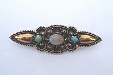 A Vintage Moonstone & Turquoise set 18ct Gold & Silver brooch..*Free UK Post*