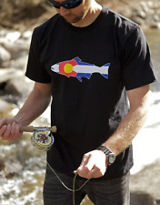 Rep Your Water Colorado Flag Trout T-Shirt, Black, Small MSRP $28