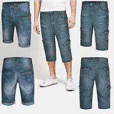 NEW MENS SHORTS DENIM 3/4 LENGTH CASUAL SUMMER CARGO COMBAT JEANS PANTS W30-W38