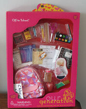 """American Our Generation OFF TO SCHOOL Backpack Snack Food Set 18"""" Girl Doll NEW"""