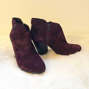 Rag & Bone Women's Size 8.5 Margot Ankle Boot Burgundy Suede