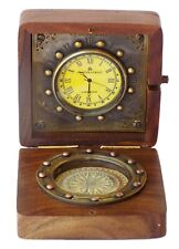 Antique Brass Nautical Wooden Desk Compass With Maritime Clock Gift Desk Pocket