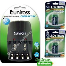 Uniross Compact Charger for AA/AAA/9V PP3 +2x Lloytron 9V Rechargeable Batteries