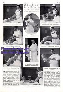 Baby beim Turnen XL 1924 Seite mit 9 Abb. Gymnastik Kinderturnen Säugling Yoga