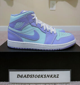 Nike Air Jordan 1 Mid Purple Pulse Aqua 554724 500 Men's Sizes