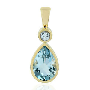 Mother's Day Gift 3.77ct Natural Sapphire Pendant 18k Yellow Gold Topaz Jewelry
