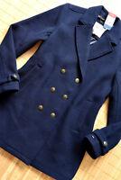 TOMMY HILFIGER Damen Mantel Wollmantel Gr XL 44 neu Navy Blau Wolle MIx Maritim