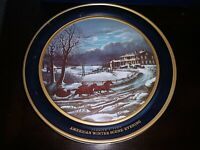 Currier & Ives Round Cookie Tin Box American Winter Scene - Evening