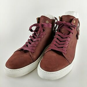 BUSCEMI Ronnie Feig Burgundy Italian Leather High Top Sneakers Size 45