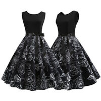 Womens 50s 60s Hepburn Rockabilly Vintage  Evening Party Pinup Dress Cocktail