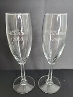 2 Millenium 2000 Crowne Plaza Advertising Etched Glass Champagne Glasses