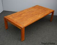 Vintage Danish Mid Century Modern Brown Coffee Table w Inlaid Wood