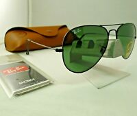 RAY-BAN RB3025 L2823 BLACK FRAME GREEN CLASSIC G-15 AVIATOR SUNGLASSES 58MM NEW