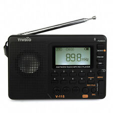 US FM/AM/SW Mini Radios TIVDIO V-115 World Band Receiver MP3 Player Rechargeable