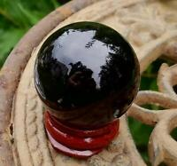Black Glass Crystal Ball Wood Stand 40mm Divination Gazing Sphere Scrying Orb