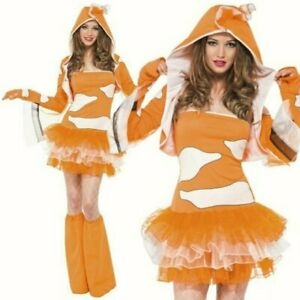 Ladies Clown Fish Fancy dress up costume Womens Clown Fish Nemo Tutu Dress