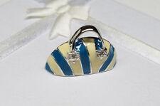 White Enamel Handbag Charm Pendant -Ladies Genuine 925 Sterling Silver Blue &