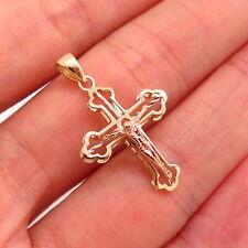 14k Yellow Gold Religious Crucifix Jesus Cross Pendant