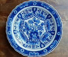 Porceleyne Fles Delft Blue Holland Flowers Leaves Wall Plate Charger 11.6""