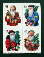 Sc # 3537b-3540e ~ Booklet Block ~ 34 cent Holiday Santas Issue (df26)