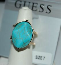 NWT Guess Gold-tone Metal & Faux Turquoise Stone Ring, Size 7