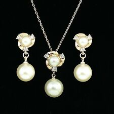18K ROSE GOLD PLATED & GENUINE CUBIC ZIRCONIA AND PEARL NECKLACE & EARRING SET