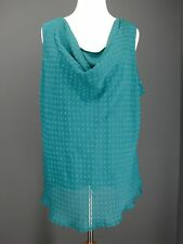 89TH & MADISON Top 3X Green Solid Teal Layered Draped Dotted Swiss