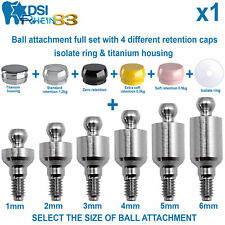 Dental Implant Ball Attachment Kit 4 Silicone Caps Isolate Ring & Housing