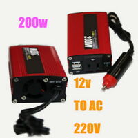 Power Inverter Red 50Hz Sine Wave 200W with USB Modified DC 12V to AC 220V Car