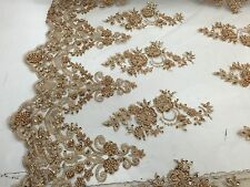 Elegant Copper Flowers Embroider And Hand Beaded On A Nude Mesh Lace-prom-yard