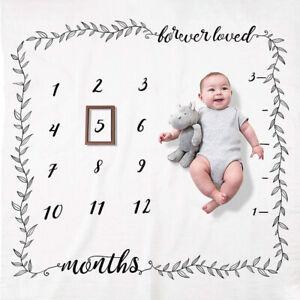 Baby Newborn Monthly Growth Milestone Blanket Photography Prop Mat 100x100cm LI